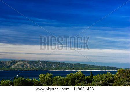 high angle view of  sea scenery, island and mountain in croatia