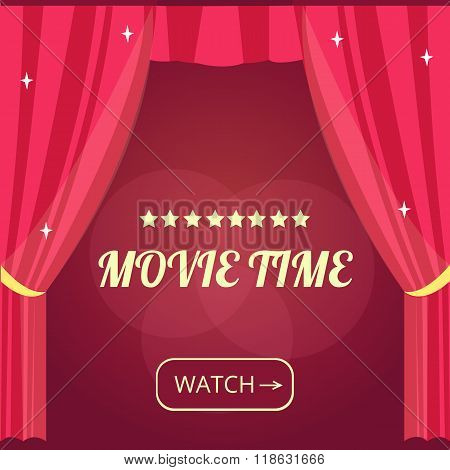 Vector movie time background with cinema Red Curtains and projector lights. Movie background with text place. Can used for banner, poster, web page, background