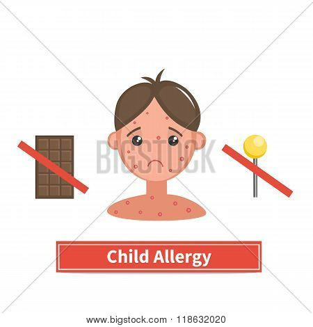 Child face covered by acne allergy symptoms. Child allergy and child acne. Concept vector illustration isolated on white background. Flat cartoon style.