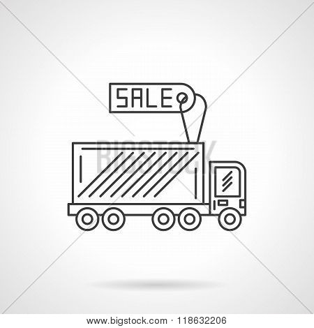 Truck for sale icon flat line design vector icon