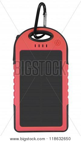 Power Bank With A Solar Panel - Red