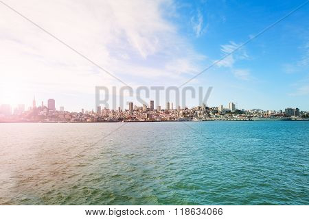 View on San Francisco from the bay waters