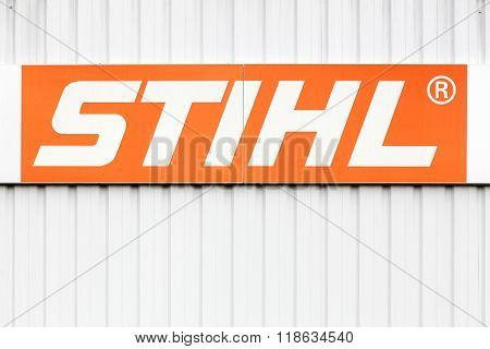 Stihl logo on a wall