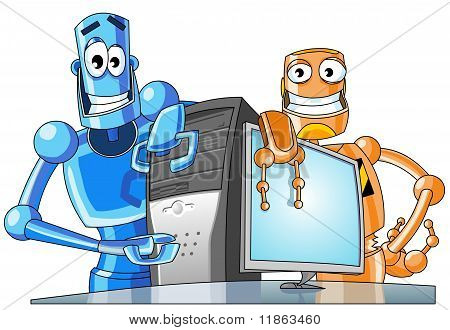 Two funny robots with a computer.