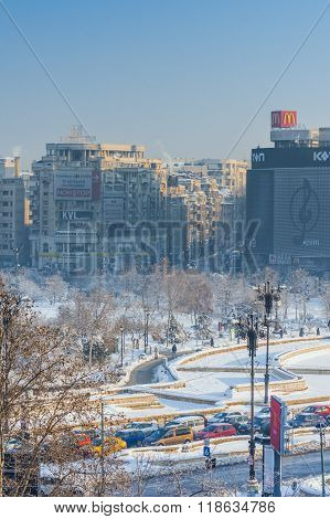 Bucharest Center At Unirii Square In Winter Season
