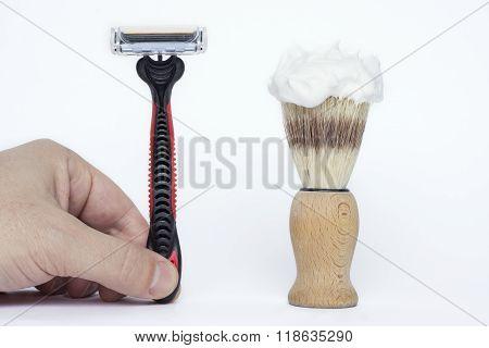 Modern Shaving Razor And Old Shaving Brush