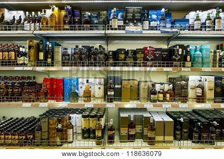 Showcases The Alcohol In The Duty Free Shop On The Ferry Tallink Romantica. Tallinn. Estonia.