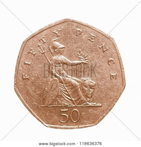 Fifty Pence Coin Vintage