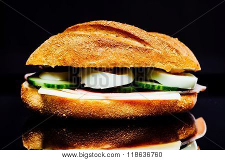 Sandwich Bread Roll With Ham, Cheese, Cucumber, Egg