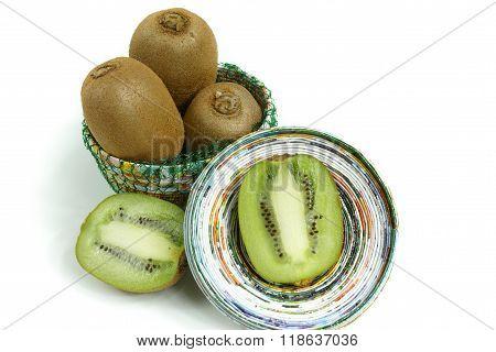 Fresh Kiwifruits In Paper Bowl