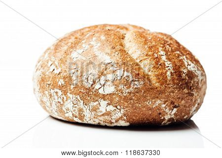 Closeup To Wholegrain Wheat Bread Roll, On White Background
