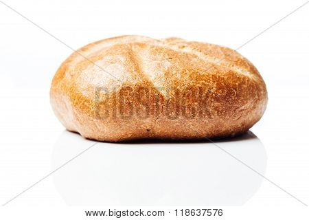 Closeup To Bread Roll, Side Shot On White Background