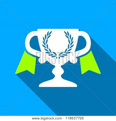 Award Cup Flat Long Shadow Square Icon