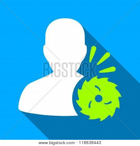 Body Execution With Circular Saw Flat Long Shadow Square Icon