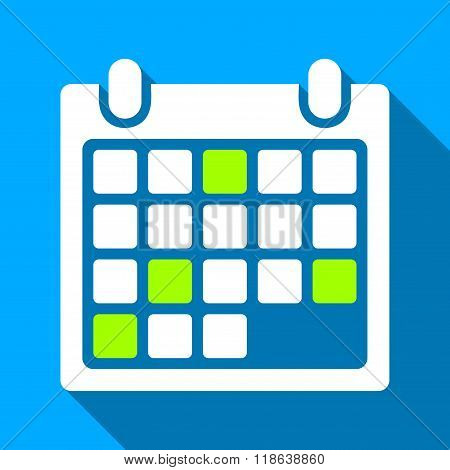 Calendar Appointment Flat Long Shadow Square Icon
