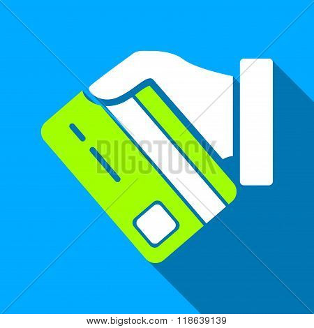 Card Manual Payment Flat Long Shadow Square Icon