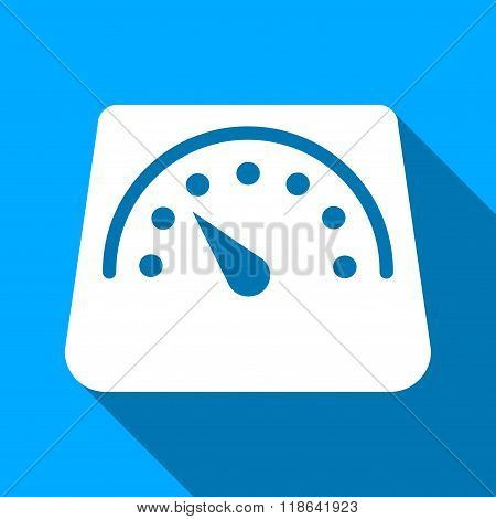 Floor Weight Meter Flat Long Shadow Square Icon