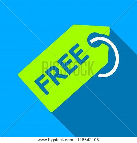 Free Tag Flat Long Shadow Square Icon