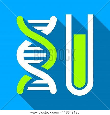 Genetic Analysis Tube Flat Long Shadow Square Icon