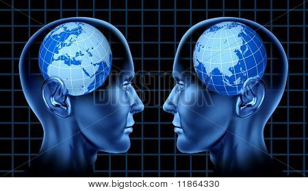 Europe asia trade meeting face to face international trade global brain mind intelligence