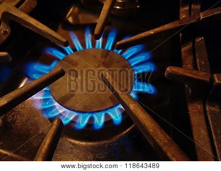 blue gas flame from burner