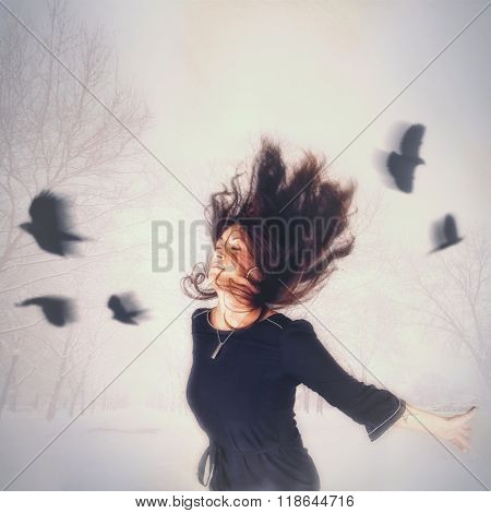 a woman with birds flying around her head