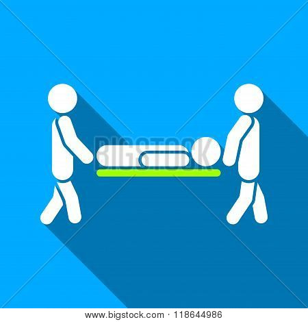 Men Carry Patient Stretcher Flat Long Shadow Square Icon