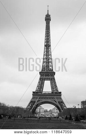 Paris, France, Eiffel tower at a night in Paris, France. Eiffel tower is one of the symbols of this city
