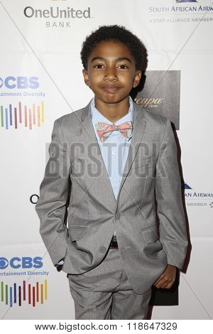 LOS ANGELES - FEB 10:  Miles Brown at the African American Film Critics Association 7th Annual Awards at the Taglyan Complex on February 10, 2016 in Los Angeles, CA
