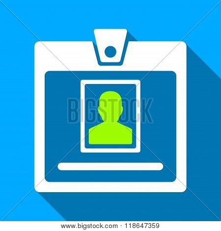 Person Badge Flat Long Shadow Square Icon
