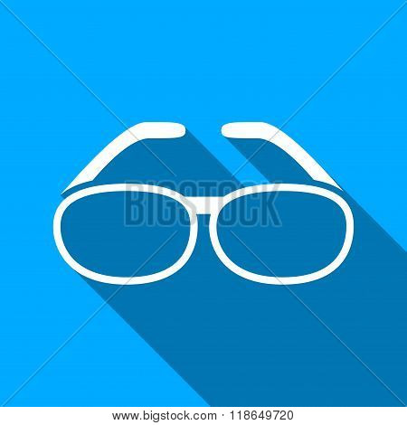 Spectacles Flat Long Shadow Square Icon