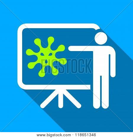 Virus Report Presentation Flat Long Shadow Square Icon