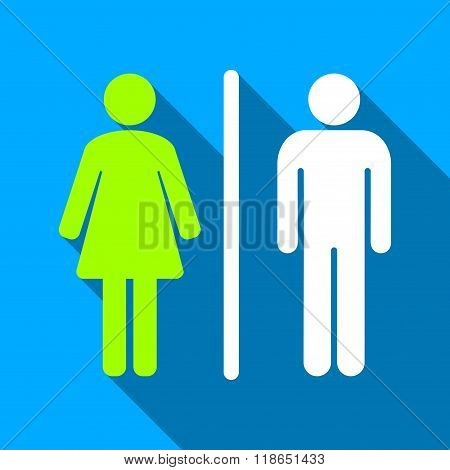 WC People Figures Flat Long Shadow Square Icon