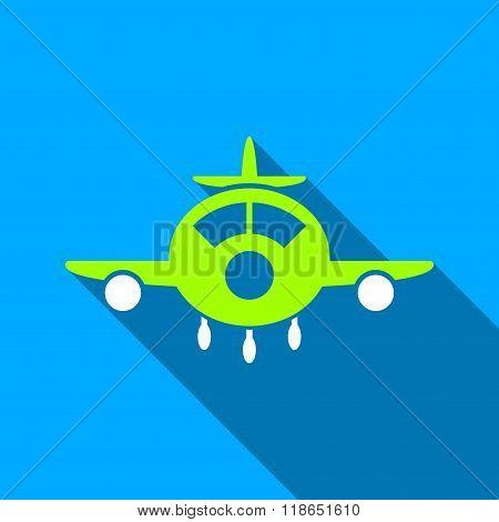 Aircraft Flat Long Shadow Square Icon