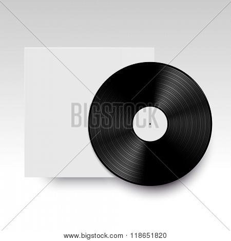 Vector isolated vinyl disc with its cover. Clear template ready for your design. Realistic mock up.