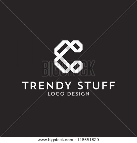 Vector logo design, flat letter C in line-art style. Logotype template.