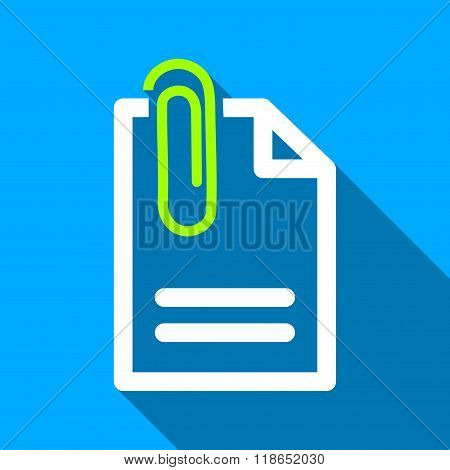 Attach Document Flat Long Shadow Square Icon