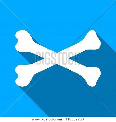 Bones Flat Long Shadow Square Icon