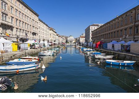 Calm Sea Water Of The Canal Grande, Trieste, Italy