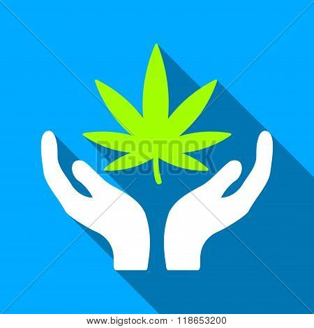 Cannabis Care Flat Long Shadow Square Icon