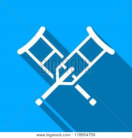 Crutches Flat Long Shadow Square Icon