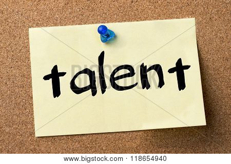 Talent - Adhesive Label Pinned On Bulletin Board