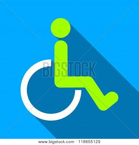 Disabled Person WC Flat Long Shadow Square Icon