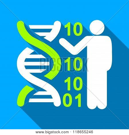 DNA Code Lecture Flat Long Shadow Square Icon