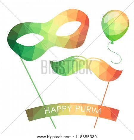 Purim holiday card or banner design. Bright carnival mask, ballon and moustaches. Symbols of purim carnival. Vector low poly triangle style.
