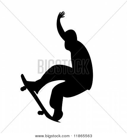 Illustration Of Black Silhouette Skateboard Man