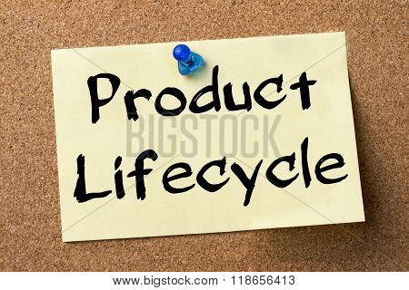 Product Lifecycle - Adhesive Label Pinned On Bulletin Board