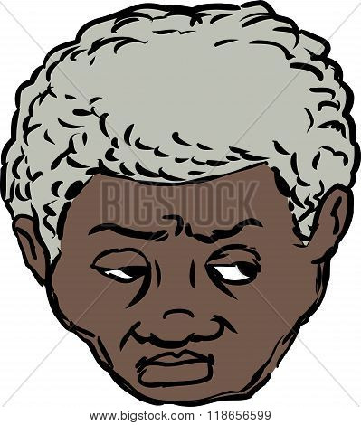 Head Of Worried Black Man