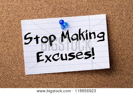 Stop Making Excuses! - Teared Note Paper Pinned On Bulletin Board