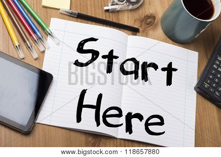 Start Here - Note Pad With Text